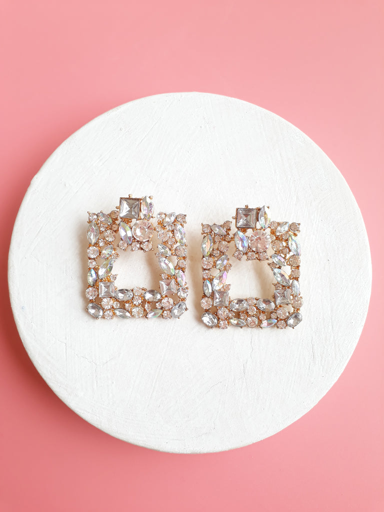 Real Sparkle Earrings In Square