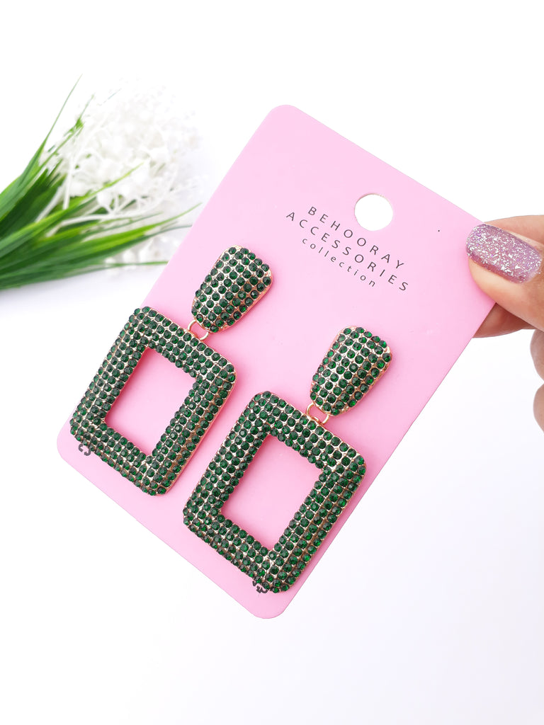 A Diamanté Sparkle Earrings In Green (Exclusive)