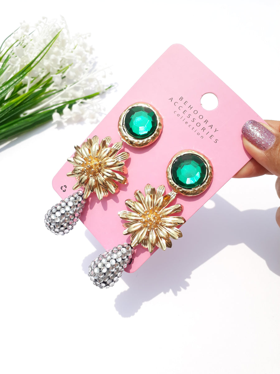 A Glam Me Up Golden Flower Earrings