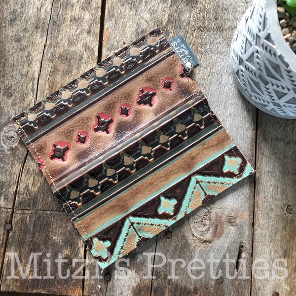 Aztec Embossed Leather Wallet