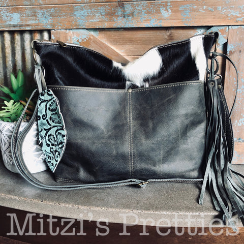 SHIPS TODAY Slip Pocket Hobo in Rustic Grey Leather and Cowhide
