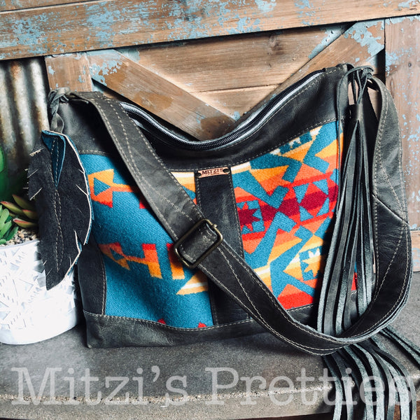 SHIPS TODAY Pendleton & Leather Crossbody Bag