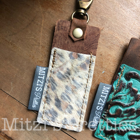 SHIPS TODAY Chapstick Clip in Acid Wash Leopard Leather!