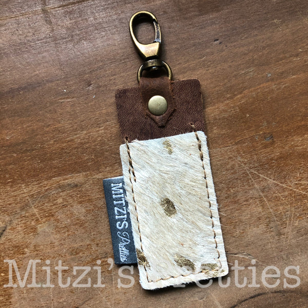 SHIPS TODAY Chapstick Clip in Gold Acid Wash Cowhide Leather!