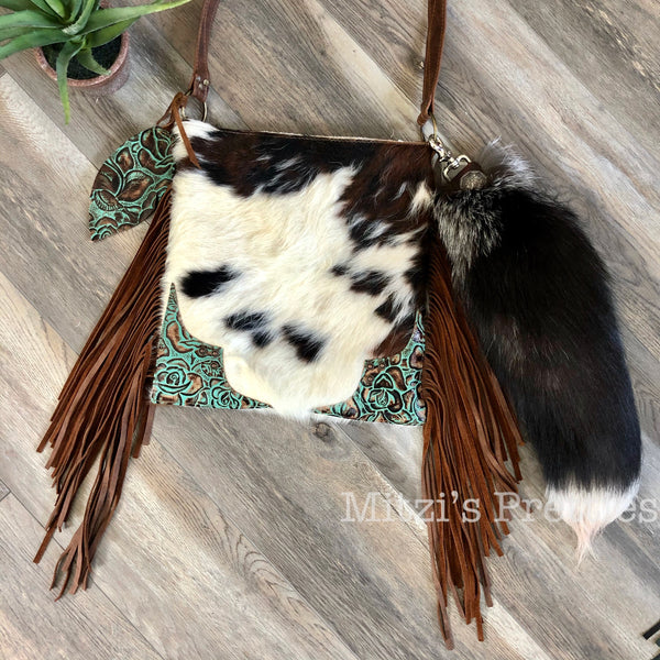 SHIPS TODAY Fox Tail Bag Charm w/ Feather & Turquoise Concho