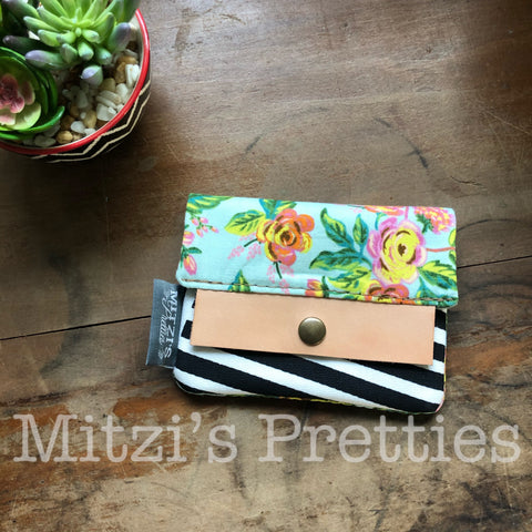 SHIPS TODAY Mini Wallet w/ Zipper Pocket, Card Slot & Leather Accent