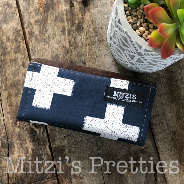 SHIPS TODAY Mom Wallet in Swiss Crosses w/ Genuine Leather Flap