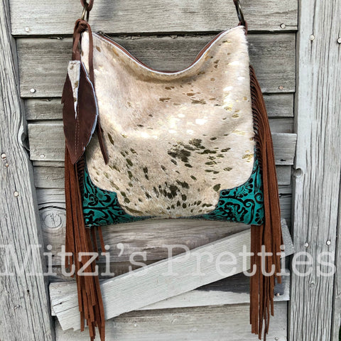 SHIPS TODAY Gold Acid Wash Cowhide Leather Hobo W/ Fringe, Pocket and Feather