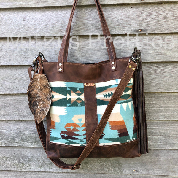 MADE TO ORDER Pendleton & Leather Crossbody Traveler Bag