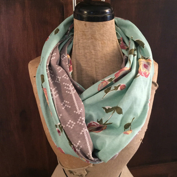 SHIPS TODAY Infinity Scarf With a Twist in Mint and Gray