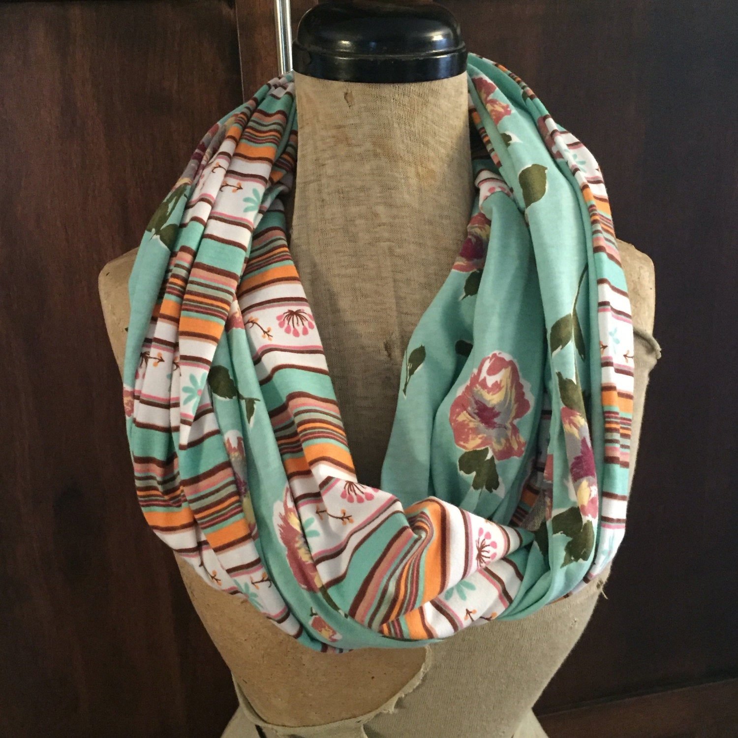 SHIPS TODAY Double Loop Infinity Scarf With a Twist in Floral and Mint Desert