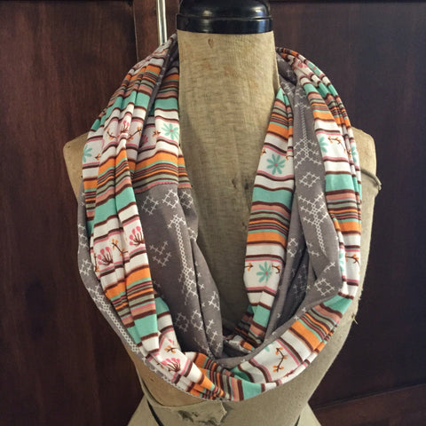 SHIPS TODAY Infinity Scarf With a Twist in Desert Stripe and Gray Arrow Knit