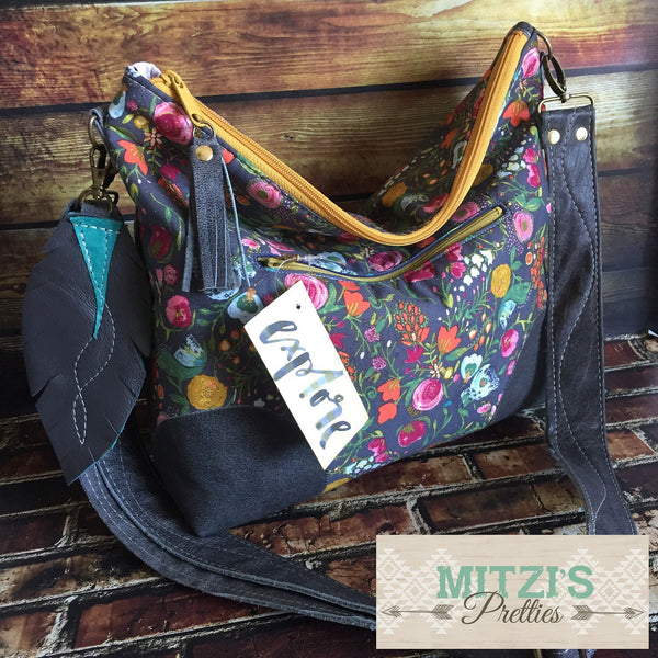 MADE TO Order Slouchy Floral Hobo w/ Genuine Leather, Feather & Crossbody Strap