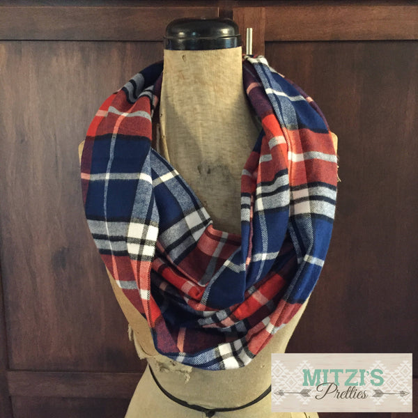 SHIPS TODAY Infinity Scarf in Blue and Orange Flannel Plaid
