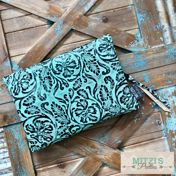 Made to Order// Stash Bag in Genuine Floral Embossed Mint Leather Large