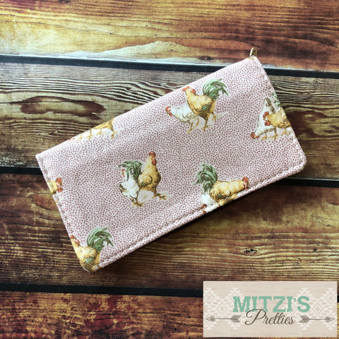 SHIPS TODAY\\\ Checkbook Cover in Chicken Fabric