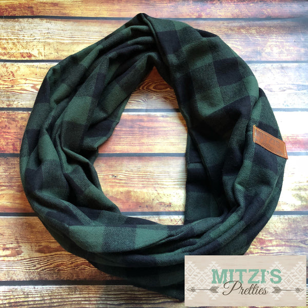 SHIPS TODAY Infinity Scarf in Black and Dark Olive Plaid Flannel