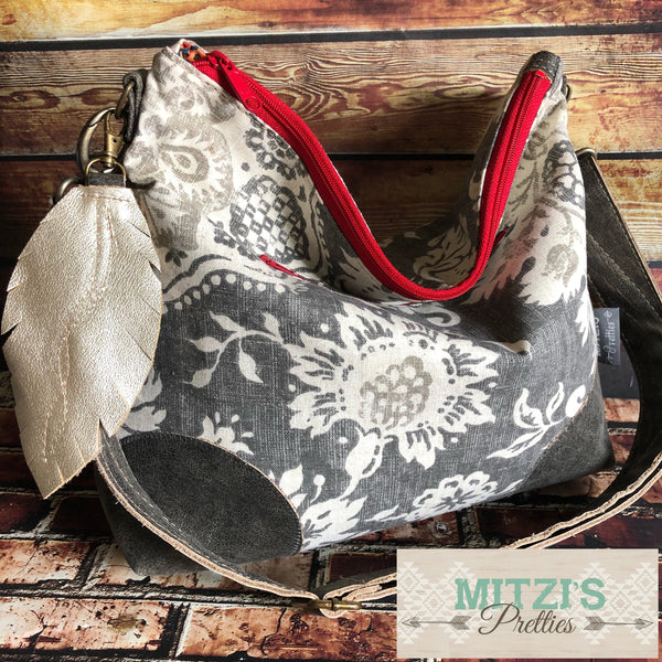 MADE TO ORDER Slouchy Floral Hobo w/ Water Buffalo Leather, Feather & Crossbody Strap