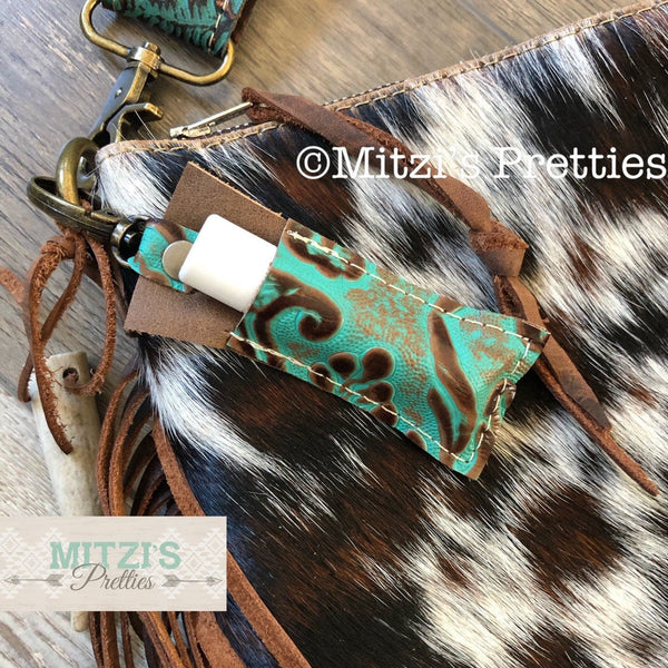 SHIPS TODAY Chapstick Clippy in Embossed Teal Leather!