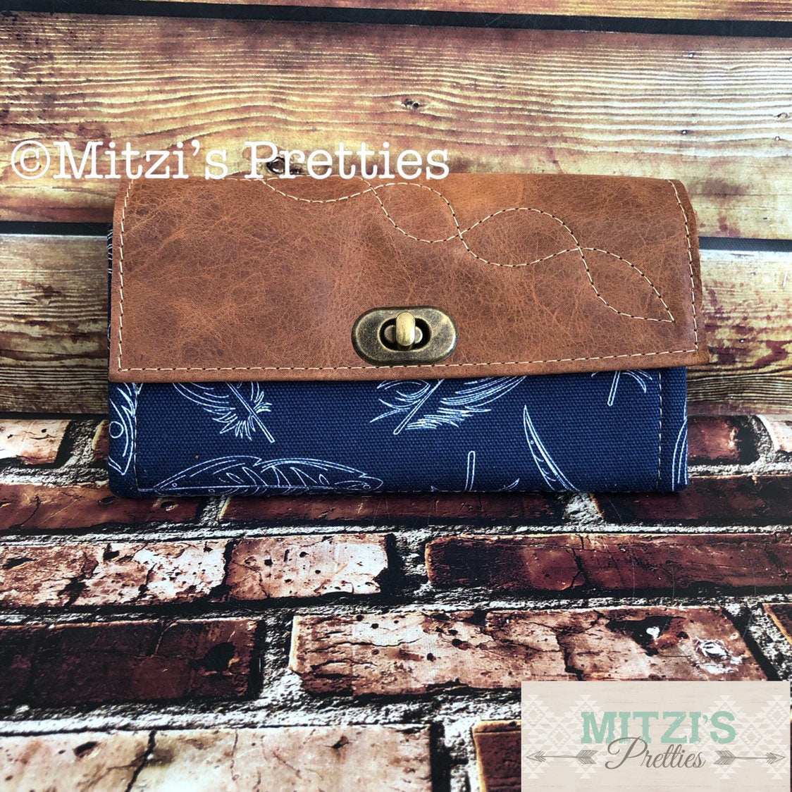 MADE TO ORDER Mom Wallet w/ Zipper Pocket, 12 Card Slots & Leather Flap