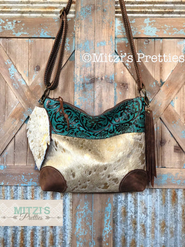 SHIPS TODAY Acid Wash Gold Cowhide, Embossed Leather & Fringe Crossbody