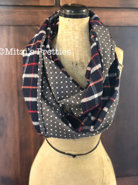 SHIPS TODAY Double Loop Infinity Scarf With a Twist in Flannel Plaid and Dots