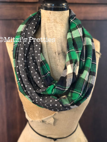 SHIPS TODAY Double Loop Infinity Scarf With a Twist in Gray Dot and Plaid Flannel