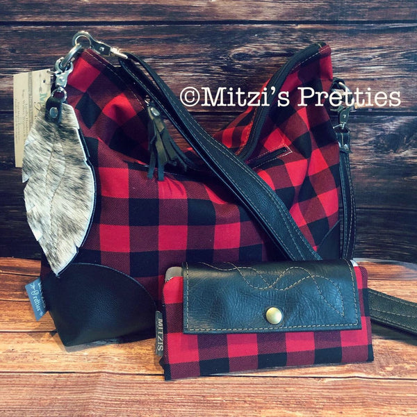 MADE TO ORDER Buffalo Plaid Slouchy Hobo w/ Genuine Leather, Feather & Crossbody Strap