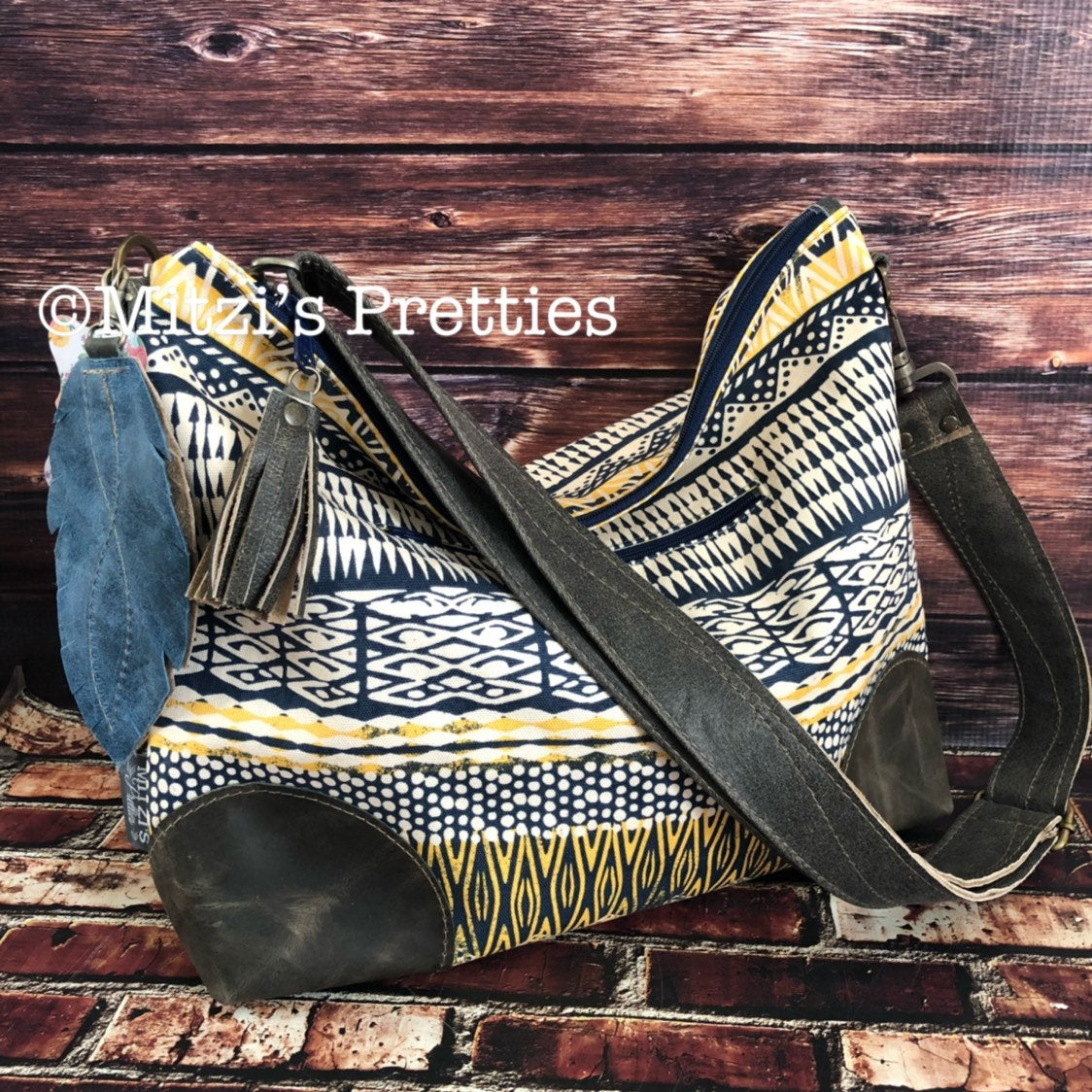 MADE TO ORDER Navy & Yellow Slouchy Hobo with Genuine Leather, Feather and Crossbody Strap