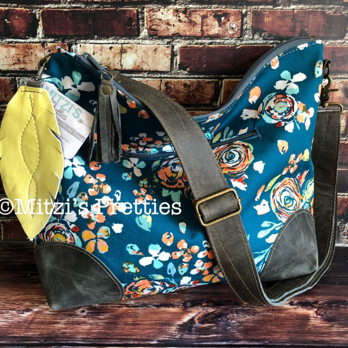 MADE TO ORDER Slouchy Floral Hobo w/ Grey Leather, Feather & Crossbody Strap