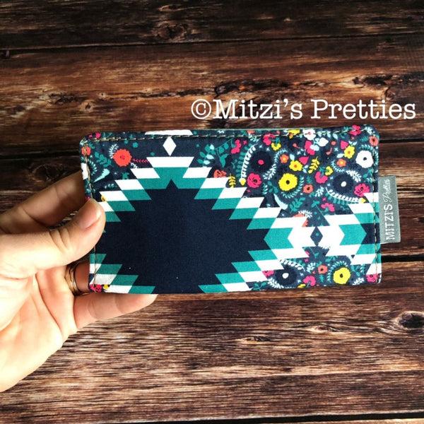 SHIPS TODAY\\\ Checkbook Cover in Blue Diamond Floral
