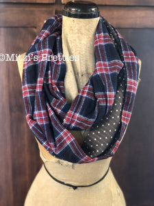 SHIPS TODAY Double Loop Infinity Scarf in Flannel Plaid and Dots