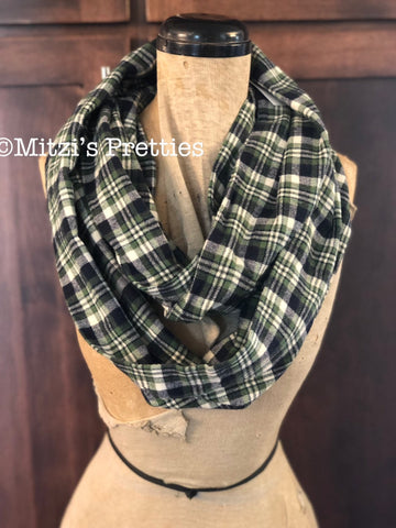 SHIPS TODAY Double Loop Infinity Scarf in Green and Navy Plaid Flannel