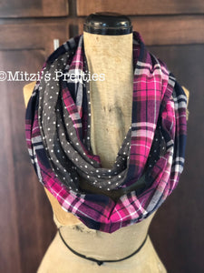 SHIPS TODAY Infinity Scarf With a Twist in Flannel Plaid and Grey Dot