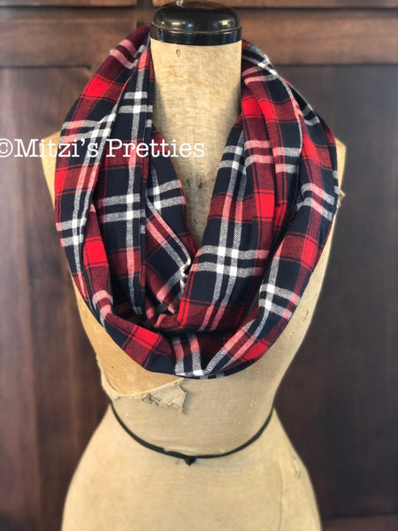 SHIPS TODAY Double Loop Infinity Scarf in Navy & Red Plaid Flannel
