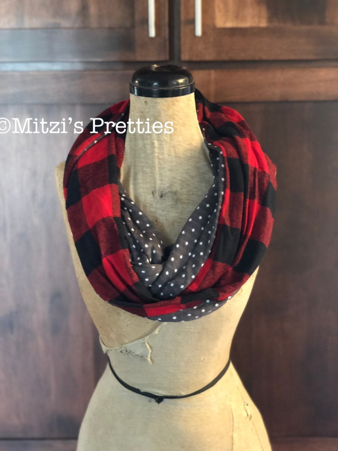 SHIPS TODAY Infinity Scarf in Red & Scarf Buffalo Plaid Flannel Plaid