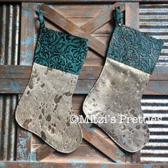 SHIPS TODAY Gold Acid Wash Cowhide & Embossed Leather Christmas Stocking