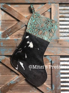 SHIPS TODAY Cowhide & Embossed Leather Christmas Stocking