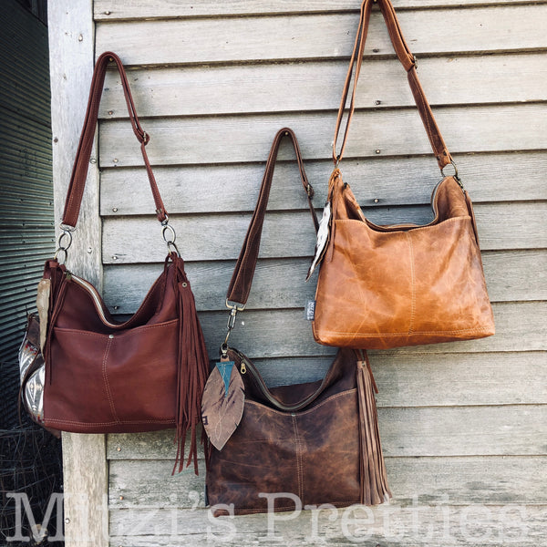 Made to Order Slouchy Brown Leather Hobo w/ Outer Pockets, Feather & Crossbody Strap