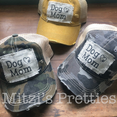 """DOG MOM"" Patched Camo Trucker Hat"