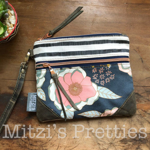 SHIPS TODAY Double Zipper Wristlet & Leather