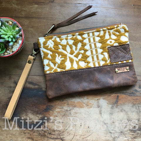 SHIPS TODAY Vintage Mustard Wool & Leather Wristlet