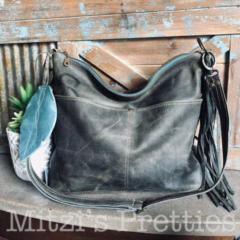 MADE TO ORDER Slouch Gray Genuine Leather w/ Outer Pockets, Feather & Crossbody Strap