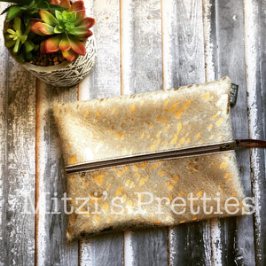 Made to Order// Makeup Bag in Gold Acid Wash Cowhide Leather Large
