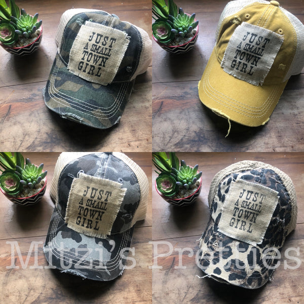 """Just a Small Town Girl"" Patched Camo Trucker Hat"