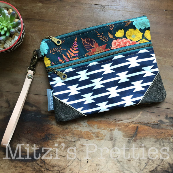 SHIPS TODAY Double Zipper Wristlet w/ Leather