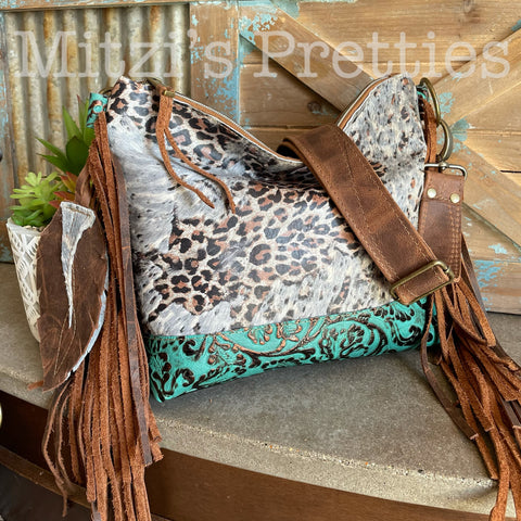 MADE TO ORDER Acid Wash Leopard Cowhide, Embossed Leather & Fringe Crossbody