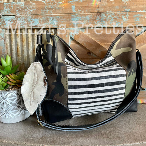 MADE TO ORDER Slouchy Hobo w/ Genuine Leather, Feather & Crossbody Strap