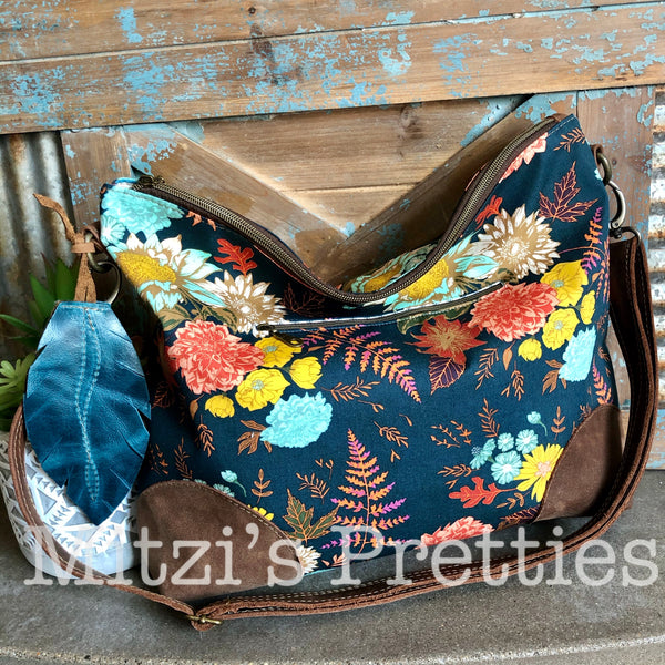 SHIPS TODAY Slouchy Hobo w/ Leather, Feather & Crossbody Strap