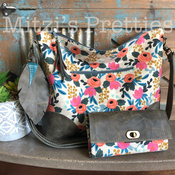 SHIPS TODAY Slouchy Hobo w/ Gray Leather Patches, Feather & Crossbody Strap
